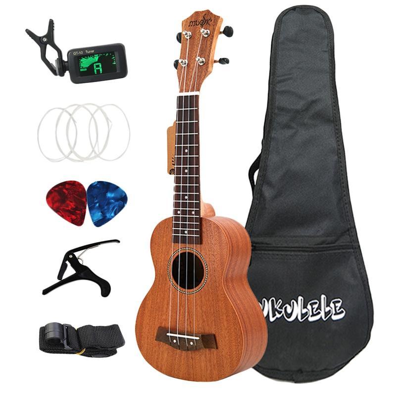 21 Inch Ukulele Soprano Sapele 15 Frets Mini Hawaii Full Kits Ukulele Guitar for Beginner Kids