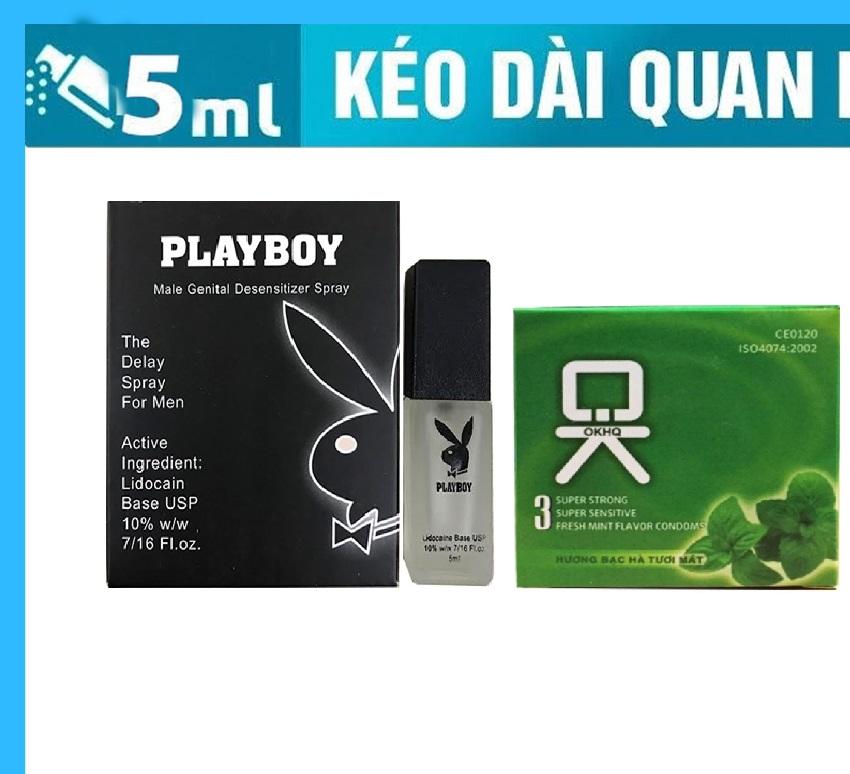 Combo chai xịt cao cấp Playboy tặng 1 bao cao su Ok bạc hà hộp 3 chiếc nhập khẩu
