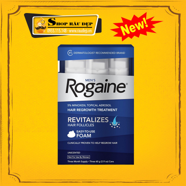 Minoxidil 5% Rogaine Dạng Bọt Mọc Râu Tóc Combo 3 Lọ