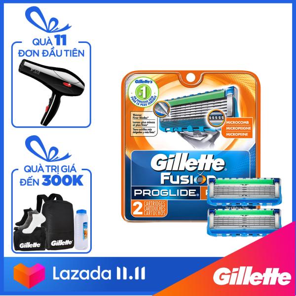 [12-15.11 Tặng Túi du lịch Gillette khi mua sản phẩm lẻ Gillette từ 149k] Lưỡi dao cạo râu Gillette Fusion5 Proglide Power ( 2 lưỡi/vỉ ) nhập khẩu