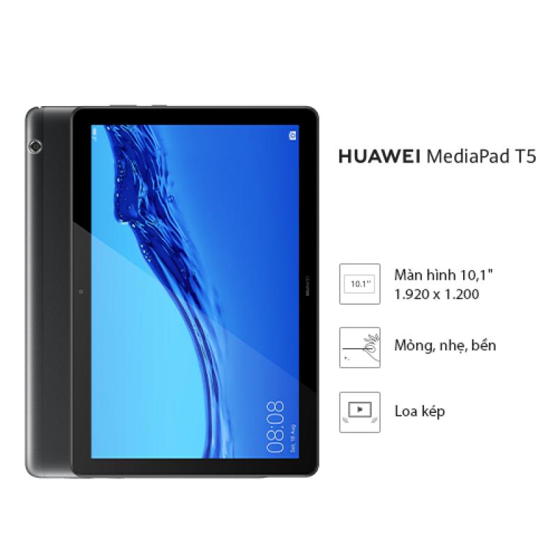 Máy tính bảng Huawei Mediapad T5 (3GB/32GB) - Chip Kirin 659 - Màn hình LCD 10.1 inch độ phân giải Full HD - Công nghệ âm thanh Dual stereo speakers - Dung lượng pin 5100 mAh - Hàng phân phối chính hãng