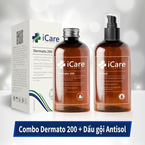 Combo Chống Rụng Tóc, Gàu, Nấm Da Đầu, Tóc Hư Tổn - Bộ Đôi Chăm Sóc Hoàn Hảo Dermato 200 & Antisol giá rẻ