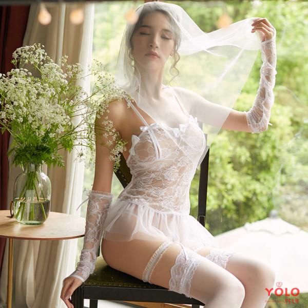 [Lấy mã giảm thêm 30%]Váy ngủ 2 dây xuyên thấu viền ren công chúa gợi cảm cao cấp