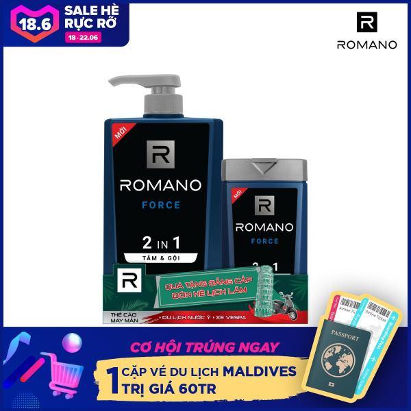 Tắm gội 2 trong 1 Romano mạnh mẽ tự tin nhanh chóng tiện dụng 650gr- Tặng tắm gội Romano 150g