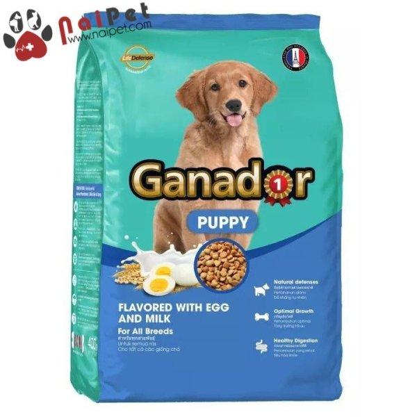 Thức Ăn Hạt Cho Chó Con Mọi Giống Chó Vị Trứng Và Sữa Ganador Puppy Gói 400g