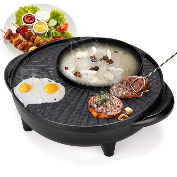 Bếp lẩu nướng tròn BBQ 2in1 HÀN QUỐC. Bếp vừa lẩu vừa nướng. Bếp lẩu nướng đa năng.
