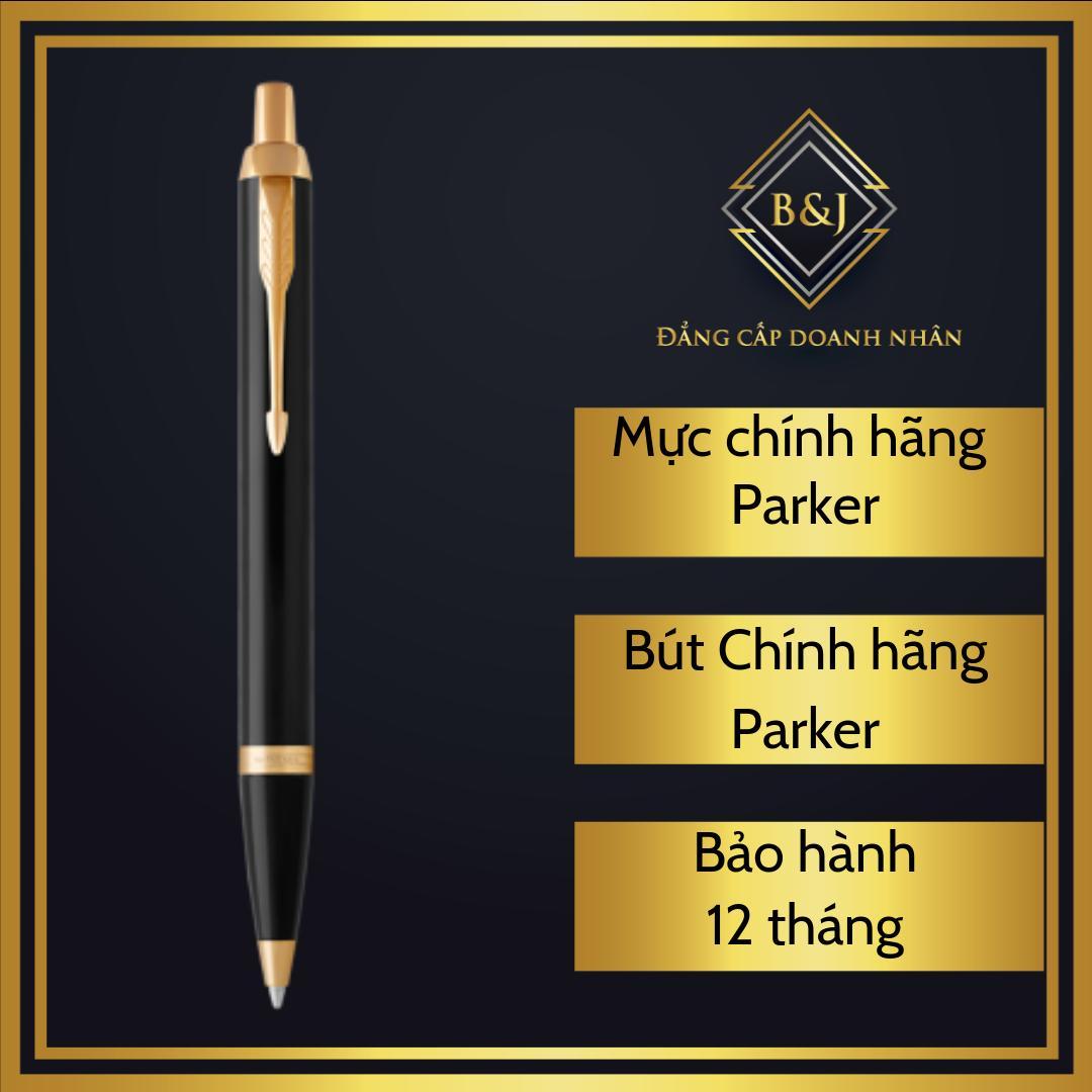 B&J - Bút (viết) bi ký tên cao cấp bằng kim loại Chính Hãng Parker IM Black Lacquer dành cho doanh nhân, khẳng định đẳng cấp cá nhân, ngòi viết 0.7mm.