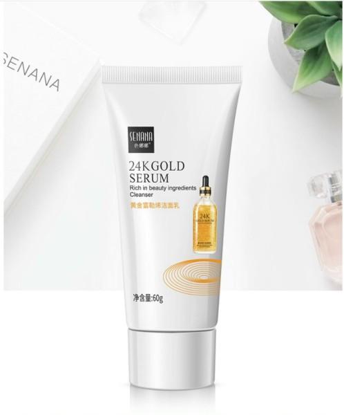 Sửa rửa mặt SENANA 24K Gold Serum Rich in beauty ingredients Cleanser, chứa tinh chất vàng giàu thành phần làm đẹp, hàng nội địa Trung chính hãng