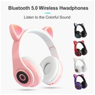 ( So Cute ) TAI NGHE Bluetooth Chụp Tai CAT EAR HXZ-B39 LED- Tai Nghe Chụp Tai Mèo Không Dây, Có Đèn Led, Có Thể Gập Lại, Điều Khiển Âm Lượng- 7 màu sắc đèn LED- Chất liệu vỏ ABS + PU- Bảo hành 12 tháng thumbnail