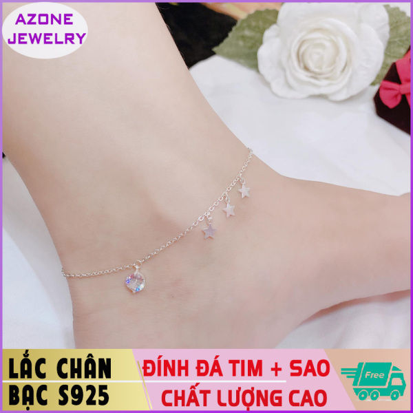 Lắc chân | Lắc chân bạc | Lắc chân nữ đính đá hình tim và ngôi sao Bạc S925 [FREESHIP] Hàng đẹp Khóa móc dễ dàng tháo lắp và tùy chỉnh kích thước #AZLC005 - Azone Jewelry