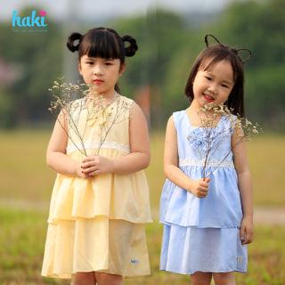 Đầm bé gái sát nách hai tầng phối ren, đính nơ HAKI HK506 (10-27kg) + Váy thiết kế bé gái vải thô, váy hè cho bé; váy xòe phối ren, váy xinh cho bé