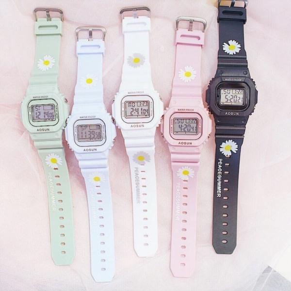 Nơi bán Đồng hồ điện tử nam nữ Aosun dây hoa cúc mẫu mới cực hot MS719