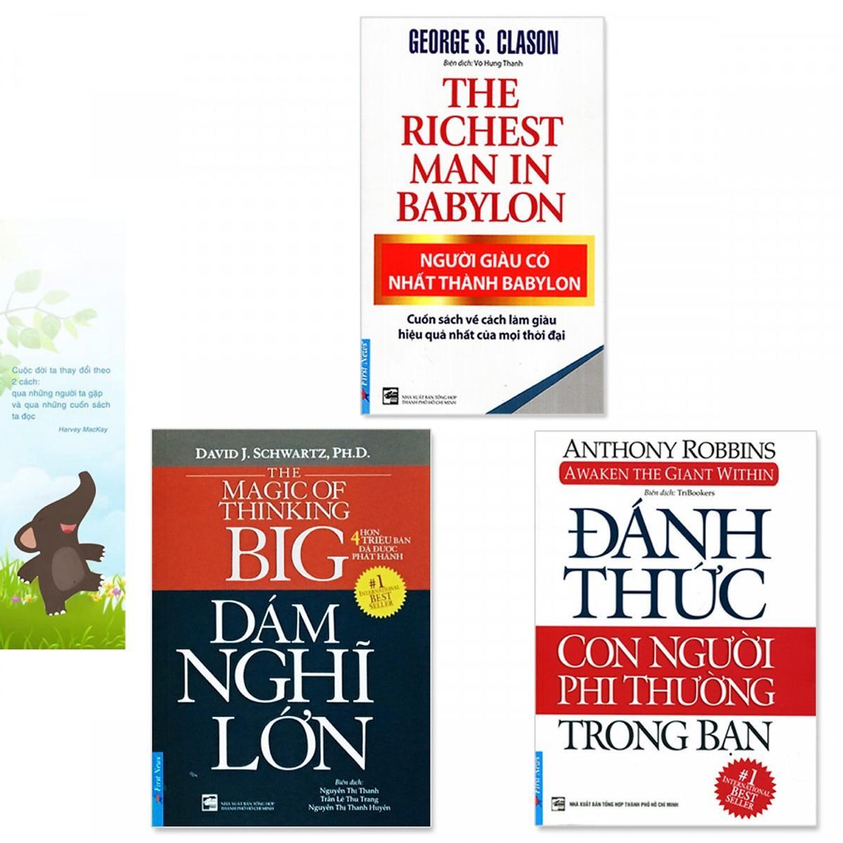 Combo 3 cuốn Sách: Người Giàu Có Nhất Thành Babylon, Đánh Thức Con Người Phi Thường Trong Bạn, Dám Nghĩ Lớn!