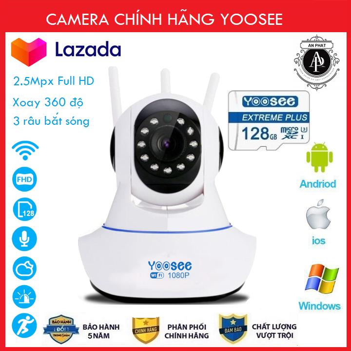 (KÈM Thẻ Nhớ YOOSEE 128 GB, BẢO HÀNH 60 THÁNG)Camera IP Wifi Yoosee 3 Râu xoay 360 độ, độ phân giải FULL HD 2.5MP 1920x1080p Không Dây,Camera trong nhà,lưu trữ dữ liệu (MÃ KÈM THẺ GIÁ 385K VÀ KHÔNG THẺ 315K)