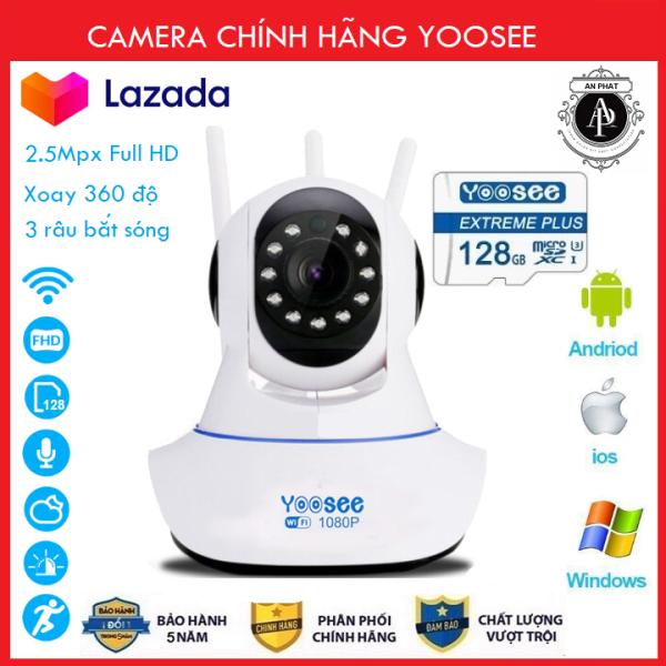 (KÈM Thẻ Nhớ SD YOOSEE 128 GB, BẢO HÀNH 60 THÁNG)Camera IP Wifi Yoosee 3 Râu xoay 360 độ, độ phân giải FULL HD 2.5MP 1920x1080p Không Dây,Camera trong nhà,ngoài trời Camera hồng ngoại tích hợp ghi âm,lưu trữ dữ liệu