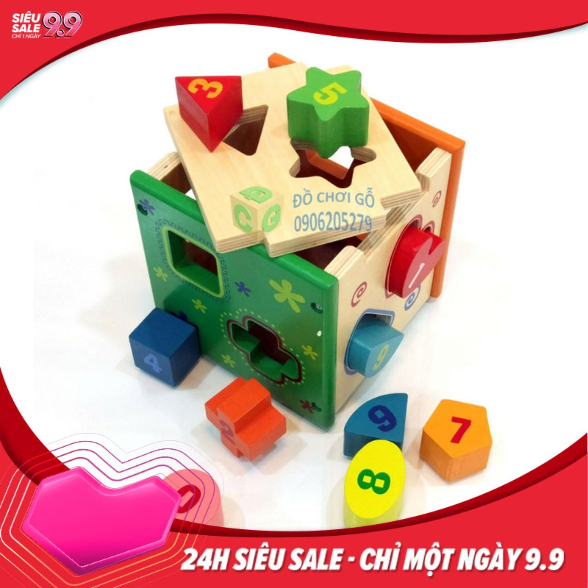 Hộp thả hình khối gỗ, Do Choi Tre Em - Đồ Chơi gỗ thông minh cho bé rèn luyện các kĩ năng cơ bản.