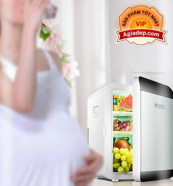 Tủ lạnh mini Hyundai Hàn Quốc mặt LED 2 chiều nóng lạnh (Dùng cả trên oto xe hơi và trong nhà) - Loại 13.5L