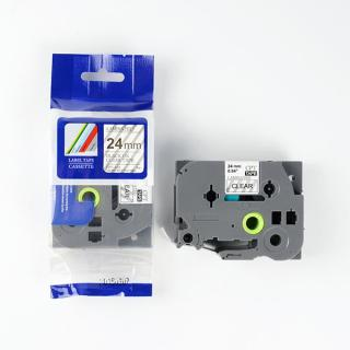 Nhãn in CPT-151 tương thích máy in nhãn Brother P-Touch - Nhãn in chữ đen nền trong suốt 24mm (Clear) thumbnail