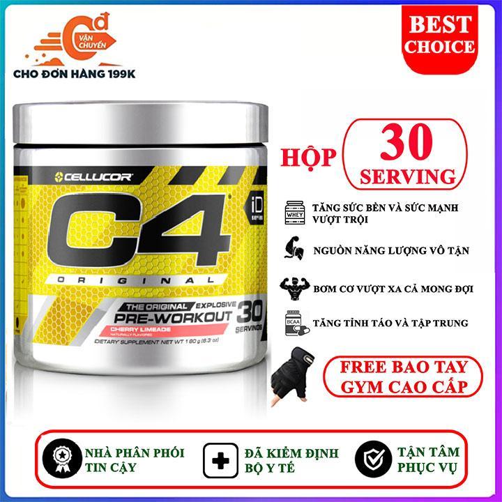 [TẶNG BAO TAY] Pre Workout tăng sức mạnh C4 Original của Cellucor hỗ trợ tăng sức bền, sức mạnh vượt trội, bơm cơ tối đa, kéo dài buổi tập hoàn hảo, tập nặng hơn, khỏe hơn cho người tập gym và chơi thể thao cao cấp
