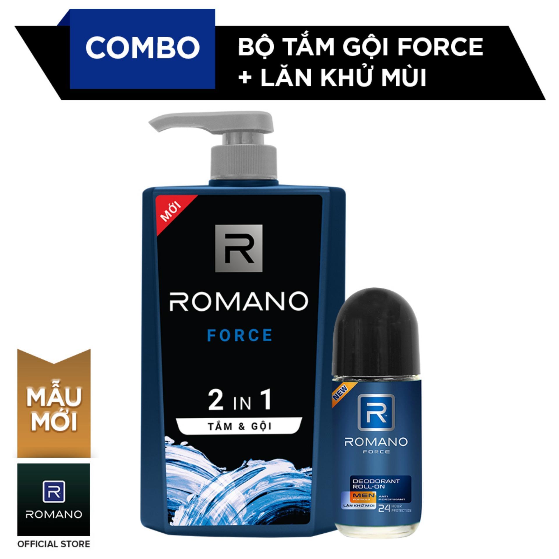 Combo Lăn khử mùi Romano Force Dầu gội toàn thân 2 trong 1 và Lăn khử mùi 50ml