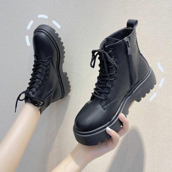 giày bốt nữ đế răng cưa khoá cạnh dễ mix đồ đi êm chân tôn dáng xinh TẶNG TẤT KHỬ MÙI trị giá 15k khi mua sp tại BITBOT giá rẻ