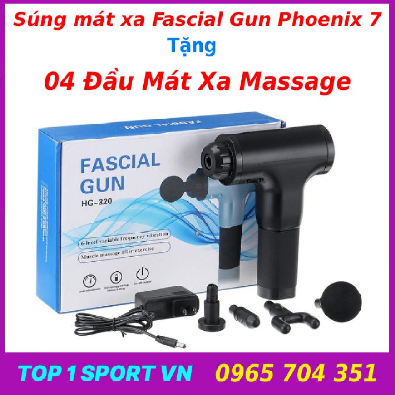 Máy mát xa massage đa năng cầm tay cao cấp thế hệ 4.0 Fascial Gun Phoenix - Tặng kèm 4 đầu mát xa và bảo hành 12 tháng