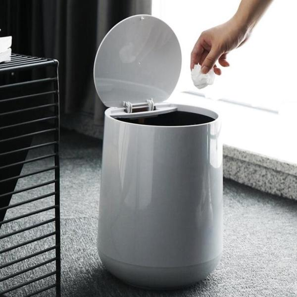 PP Trash Bins, Press Type Trash Can, Waste Bin with Inside and Outside Double Layer Bucket, Waste Recycling 17L