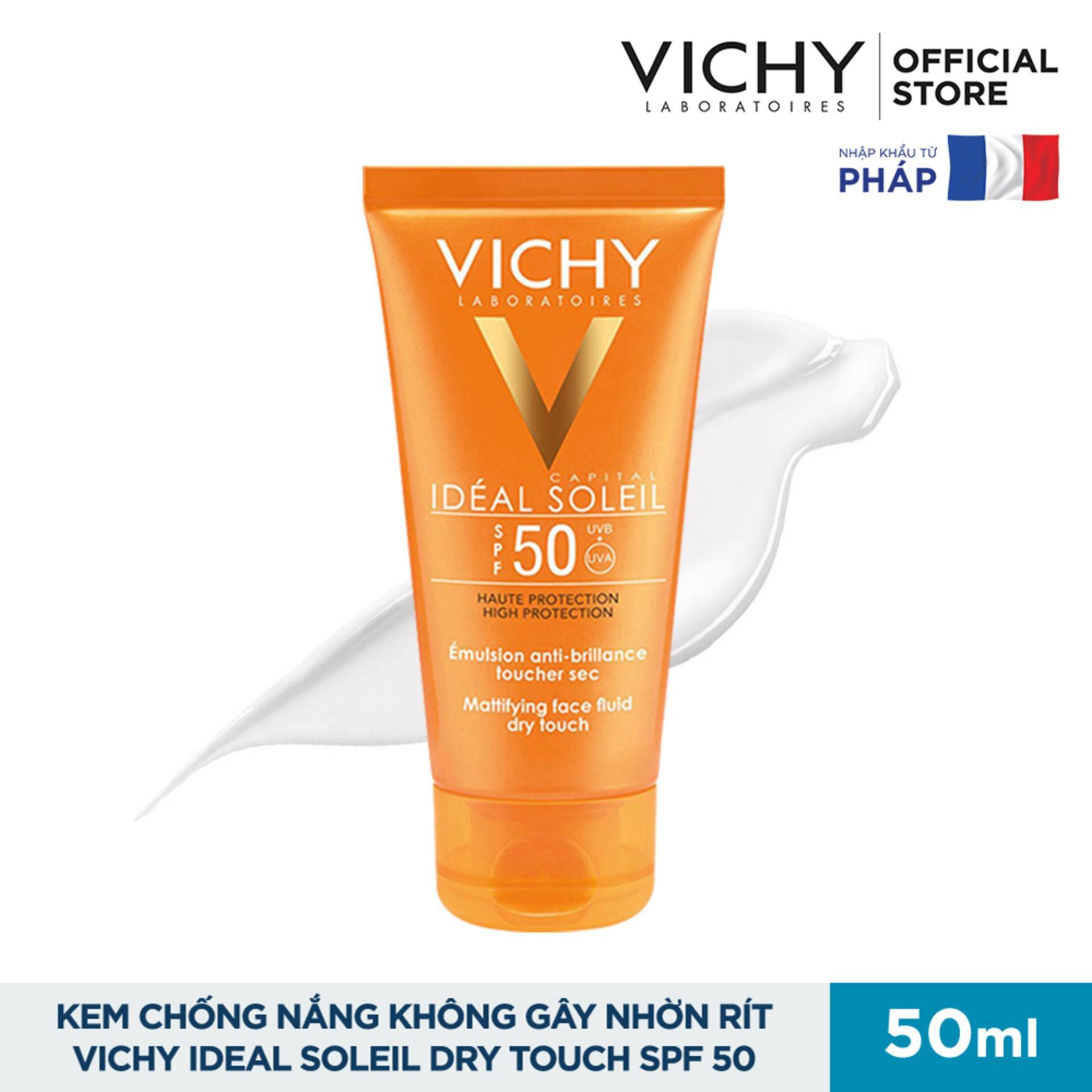 Kem Chống Nắng Không Gây Nhờn Rít Vichy Ideal Soleil Dry Touch SPF 50 Chống Tia UVA + UVB 50ml Đang Có Giảm Giá