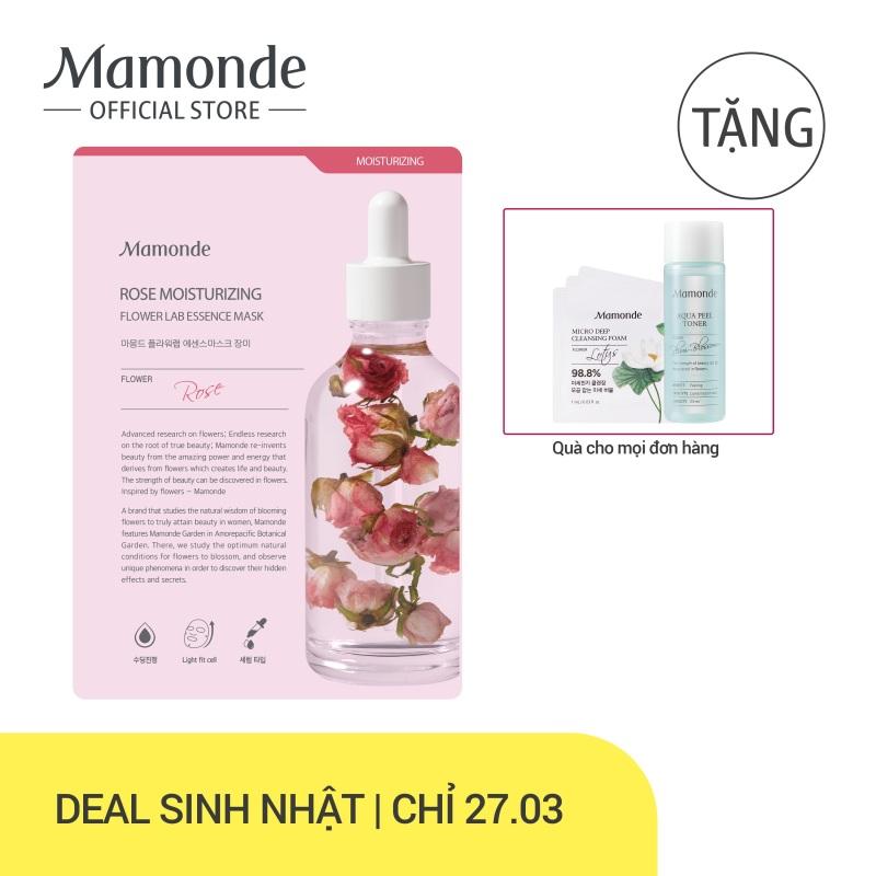 Mặt nạ giấy cấp ẩm cho da từ hoa hồng Mamonde Rose Moisturizing Flower Lab Essence Mask 25ml nhập khẩu