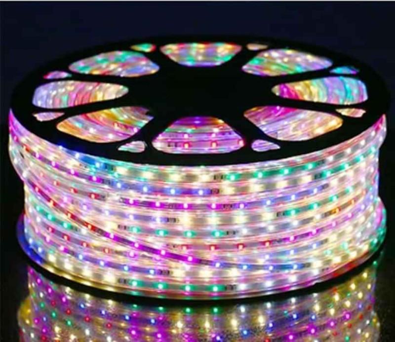 LED dây 2835 48bóng trên 1m 5mm nháy chạy đuổi 6 màu 220v 10m tặng 1 bộ nguồn