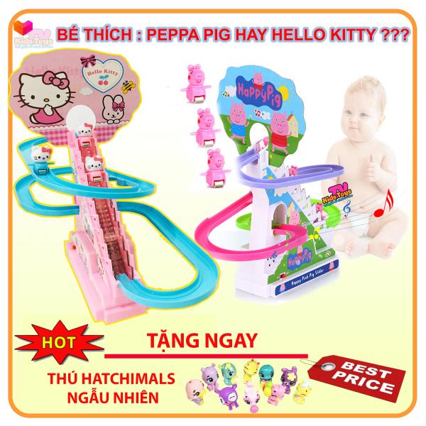 (XẢ KHO+ QUÀ TẶNG  )  Đồ chơi Doraemon -heo peppa - mèo Kitty  leo thang có nhạc đèn cho bé đồ chơi bé  yêu thích kidstoystv
