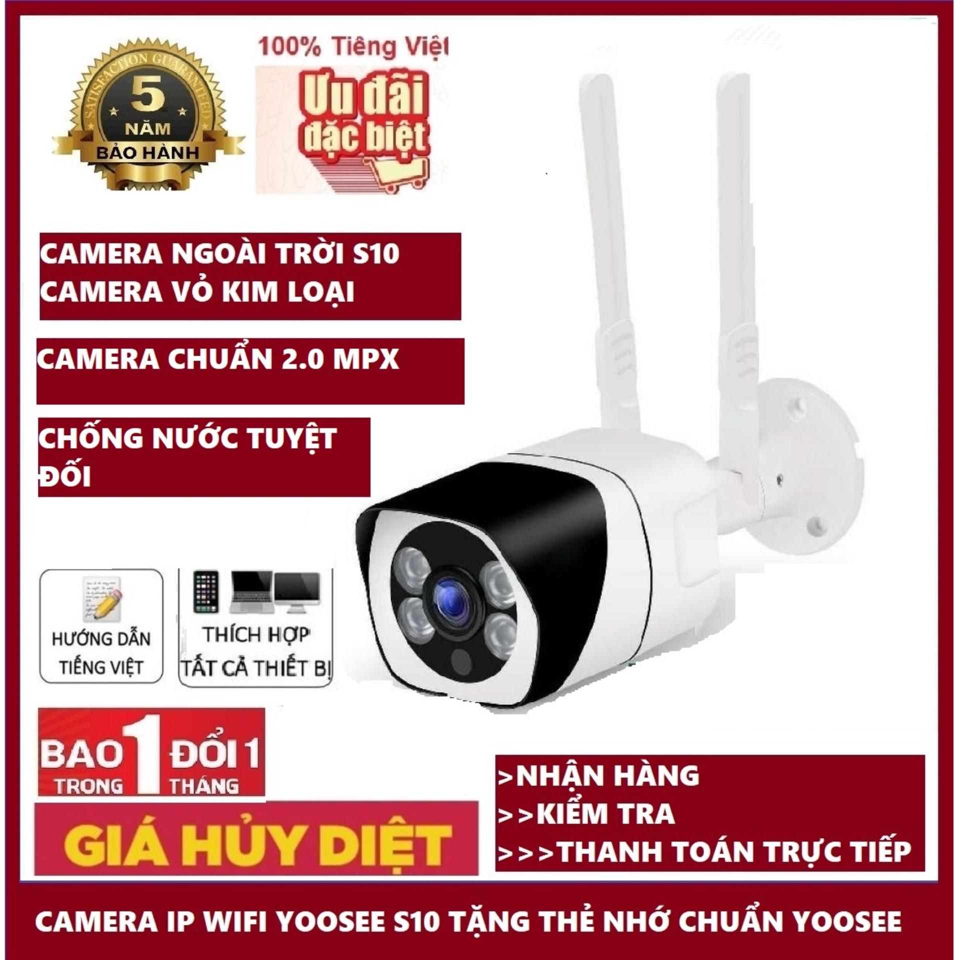 (Bảo hành 12 tháng)Camera Wifi trong nhà- ngoài trời ,camera chông trộm YOOSEE S10, 3.0Mpx- 1920 x 1080P,Full HD,chống nước,hồng ngoại