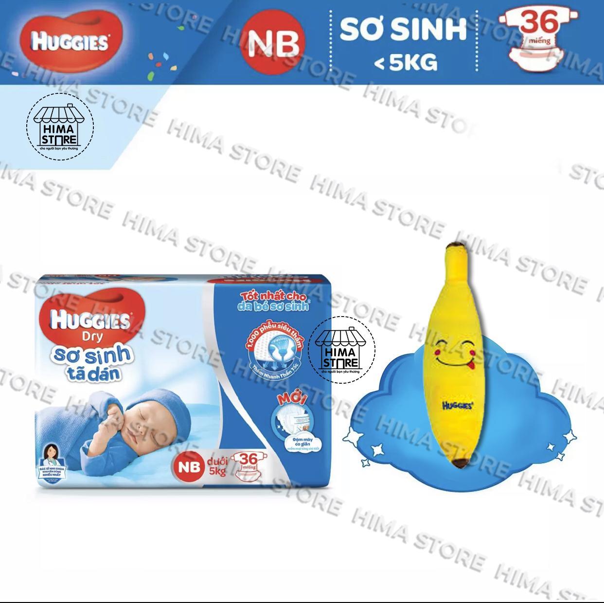 [Tặng gối hoa quả dễ thương] Tã Dán Sơ Sinh Huggies Dry Newborn NB36 (36 Miếng)-Mẫu mới (Cho bé dưới 5kg)