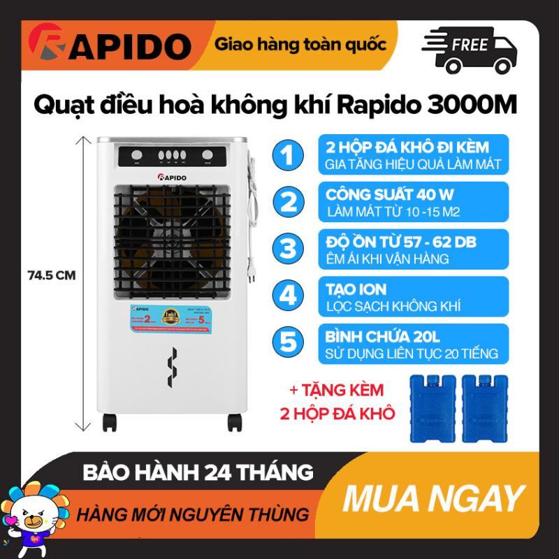Quạt điều hòa không khí Rapido 3000M Làm Mát Dưới 15m2, Bình Chứa 20L, Điều Khiển Cơ, Công Suất 40W, Tự Tắt Bơm Khi Hết Nước, Quạt Làm Mát Giá Rẻ - Bảo Hành 2 Năm