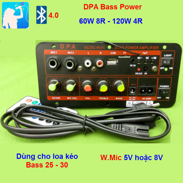 Mạch loa kéo công suất 100W - 150W DPA loa kéo 2.5 3 tấc Bluetooth 4.0 Karaoke