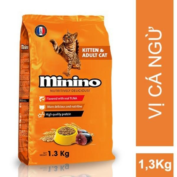 Thức ăn cho mèo mọi lứa tuổi Minino vị cá ngừ - túi 1,3kg, đảm bảo mức dinh dưỡng cao, đáp ứng nhu cầu tăng trưởng và sức khỏe