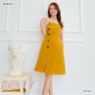 Đầm đính nút lệch phối cổ BEMINE MT1641VANG thumbnail