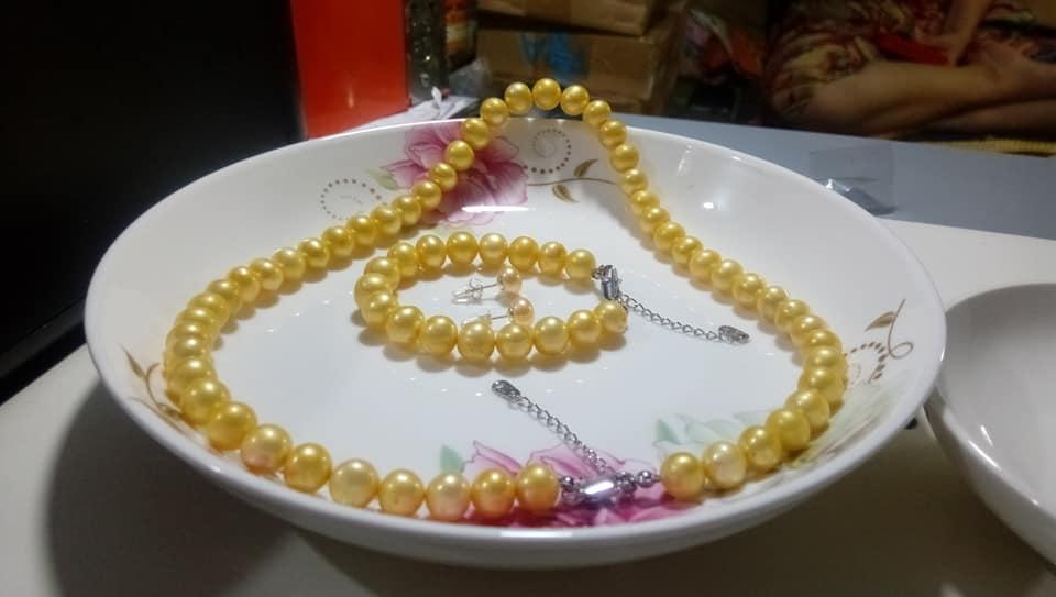 bộ set trang sức ngọc trai tự nhiên vàng gold cực hiếm