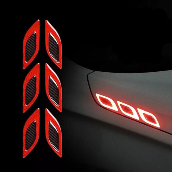 Bộ 6 miếng decal phản quang xe ô tô (đỏ)