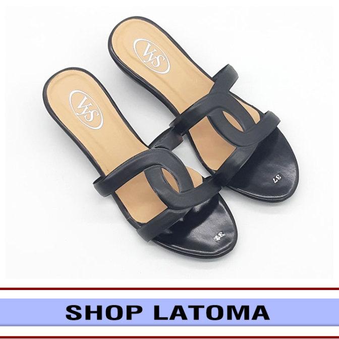Dép quai ngang, dép nữ, đế đúc cao 3 phân viền quai cách điệu tôn dáng dễ dàng phối đồ đi chơi hay dự tiệc thời trang cao cấp Latoma TA4661 (Đen) giá rẻ