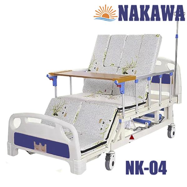 Giường bệnh nhân 4 tay quay đa chức năng NAKAWA NK-04.[Giá:11.500.000], giường y tế 4 tay quay đa năng, giường bệnh viện cao cấp, giuong benh nhan 4 tay quay, giuong y te, giuong benh vien, nursing bed nhập khẩu