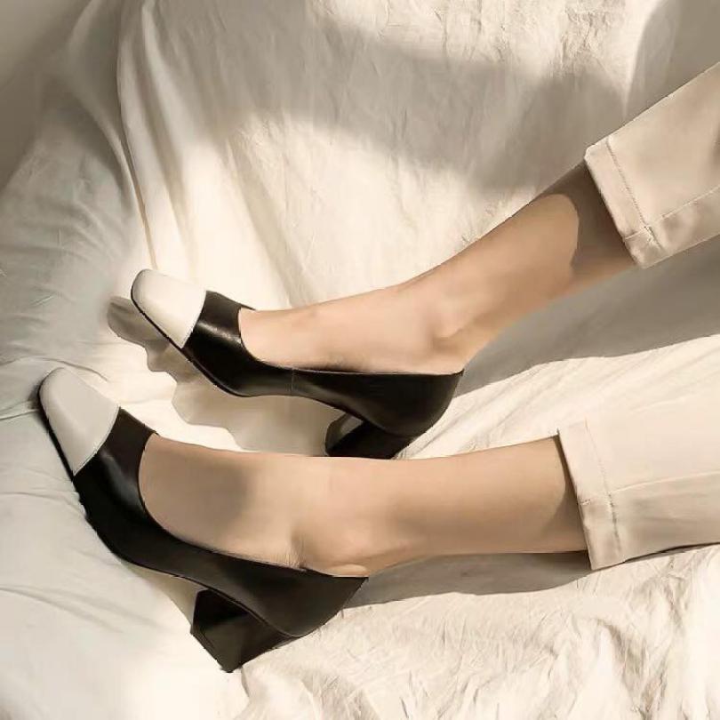 Giày gót vuông 5 phân mũi vuông da lì phối màu cực sang- Có size lớn cho chân ngoại cỡ giá rẻ
