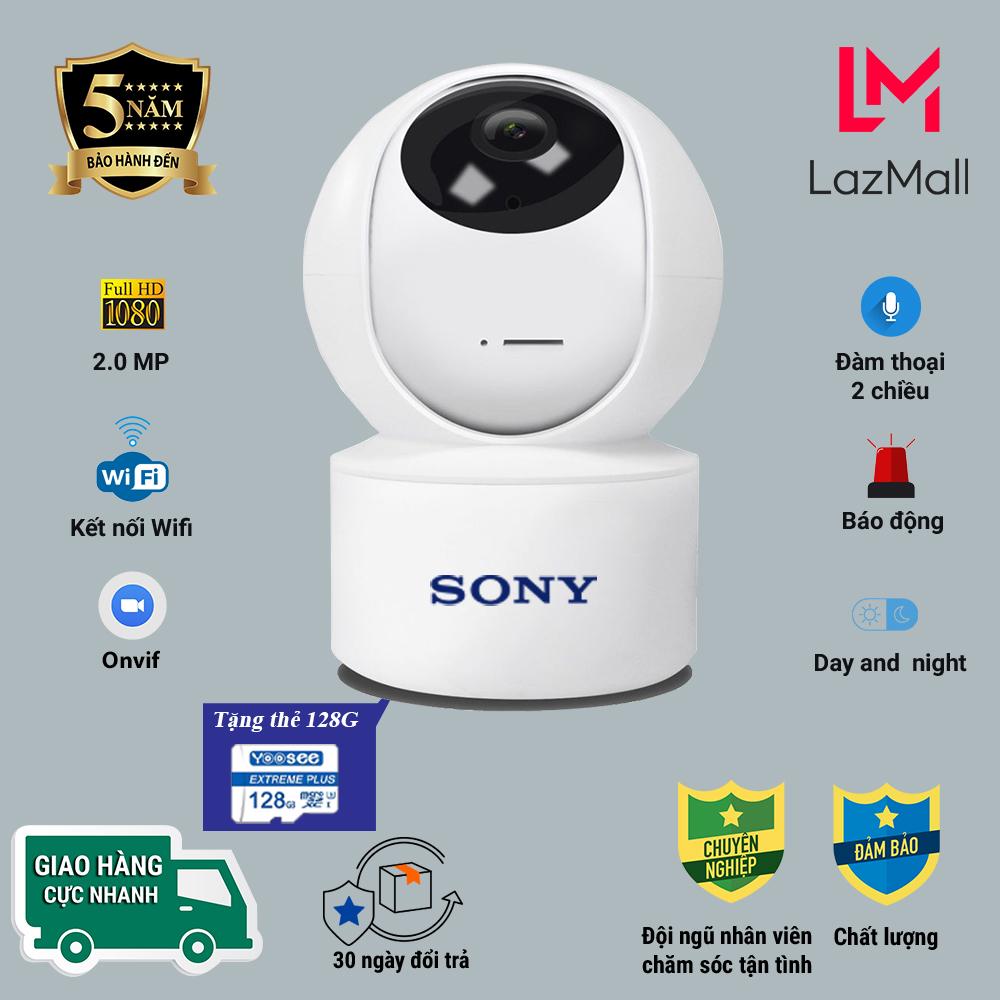 Có Combo thẻ nhớ 128GB - Camera IP wifi giám sát SONY Fullhd 2.0MP xoay 360 sắc nét, Cảnh báo chống trộm, Ghi âm đàm thoại 2 chiều, Kết nối xem từ xa - Bảo Hành 5 Năm