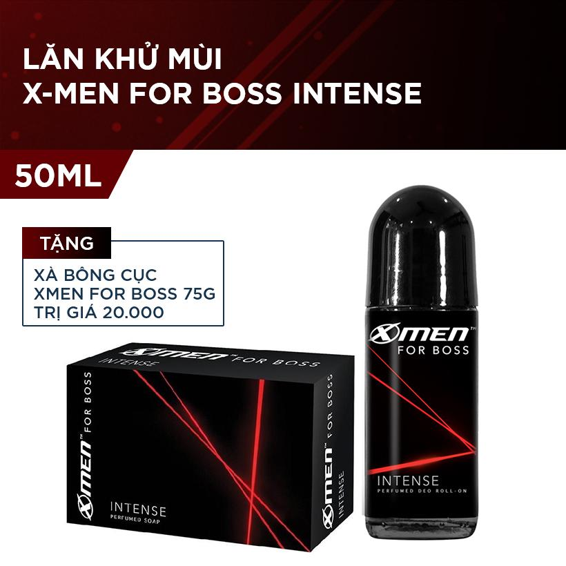 Lăn khử mùi X-Men for Boss Intense 50ml (Tặng Xà bông cục Xmen for Boss 75g trị giá 20.000)