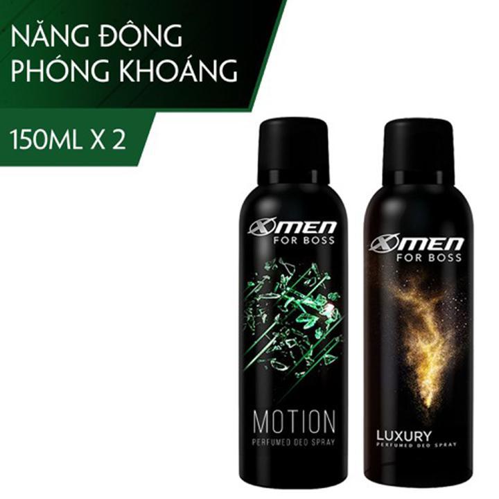 Bộ Xịt khử mùi X-Men for Boss 150ml Motion + Xịt khử mùi X-Men for Boss 150ml Luxury