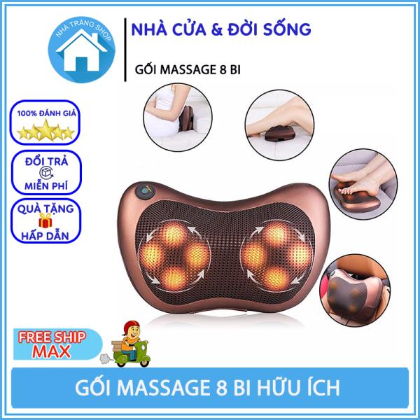 Máy Massage Cổ, Gối Massage Cổ Hồng Ngoại 8 Bi Cao Cấp Hàn Quốc, Bảo Hành 6 Tháng cao cấp