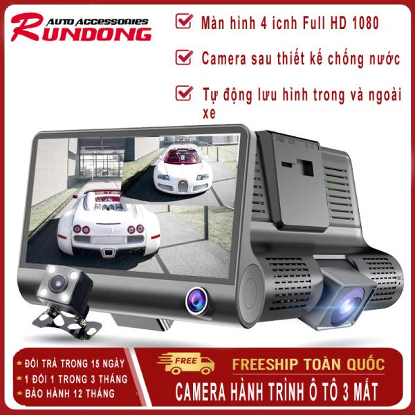 Camera hành trình ô tô 3 mắt RUNDONG toàn diện, màn hình 4.0 inch full HD 1080, camera sau chống nước, hỗ trợ thẻ nhớ 32 Gb, ghi hình đa chiều, tự động ghi hình nếu phát hiện chuyển động