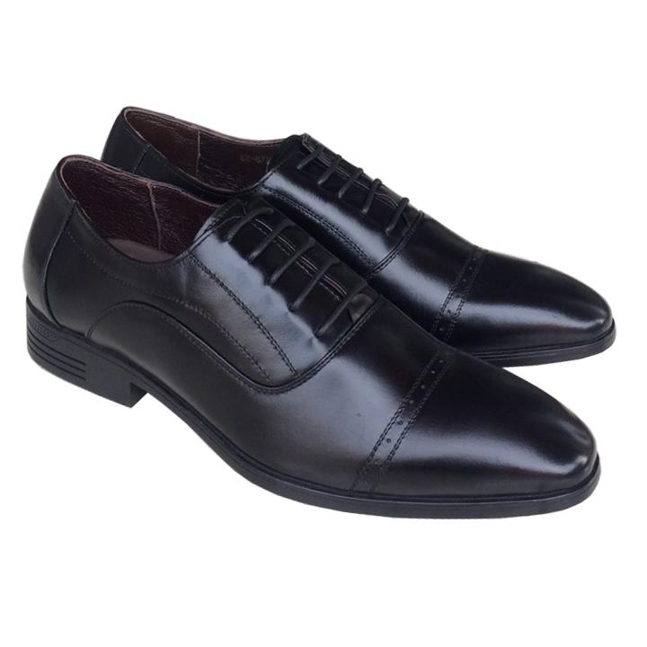 Giày nam công sở đen Trường Hải buộc dây  da bò thật cao cấp đế cao su cao 3.5cm TH003