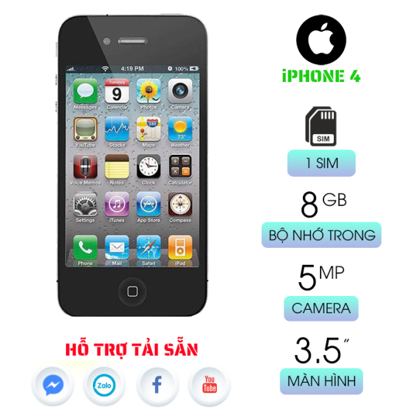 Điện thoại IP4 8GB quốc tế giá rẻ dùng xem phim lướt web