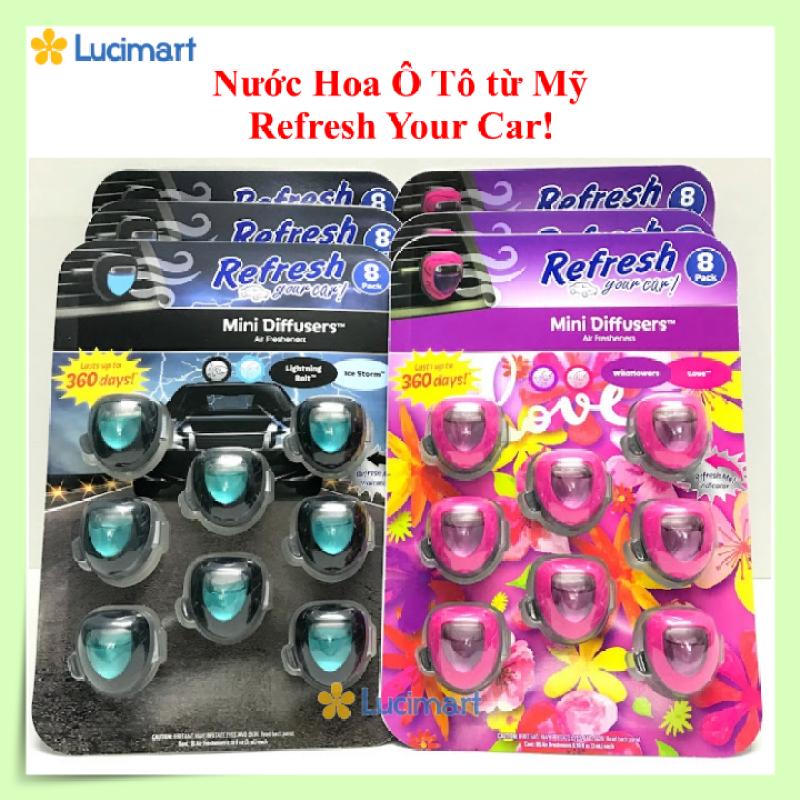 Nước hoa ô tô Refresh Your Car, Mini Diffusers, nhiều mùi hương [Hàng Mỹ]